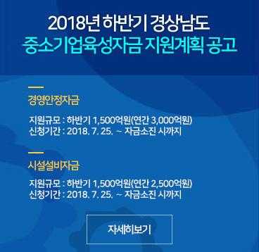 2018하반기 경남 중소기업 지원계획공고